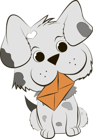 Cute Cartoon Dog with envelope Vector