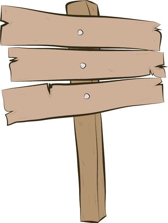 Cartoon blank signpost isolated on white Vector