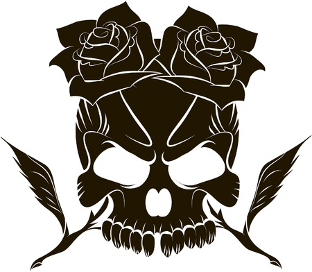 Pirate skull and two roses