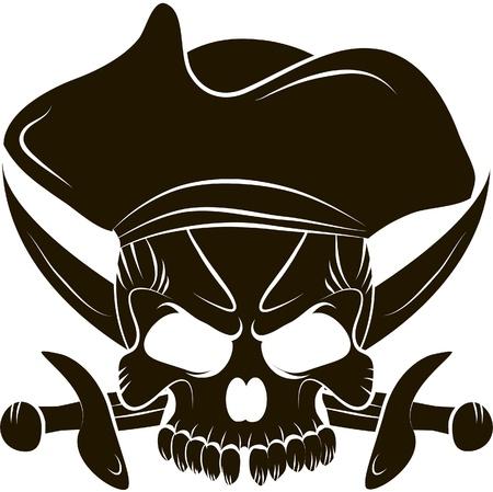 海賊頭蓋骨と剣  イラスト・ベクター素材
