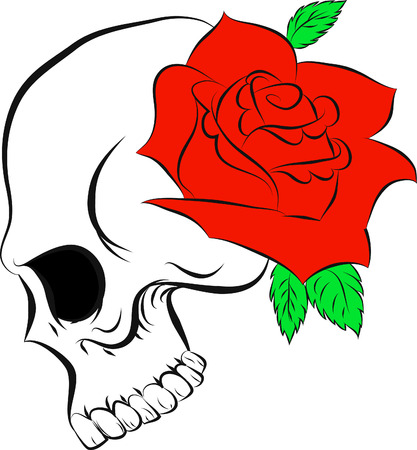 Pirate skull and one rose Vector