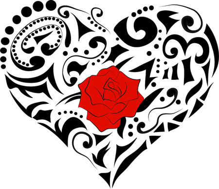 red rose black background: abstract floral heart