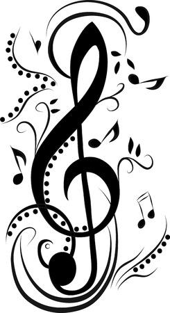 treble g clef: Abstract treble clef Illustration