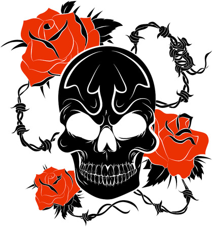 Pirate skull and roses Illustration