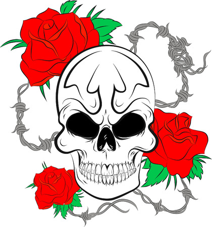 Pirate skull and roses Çizim