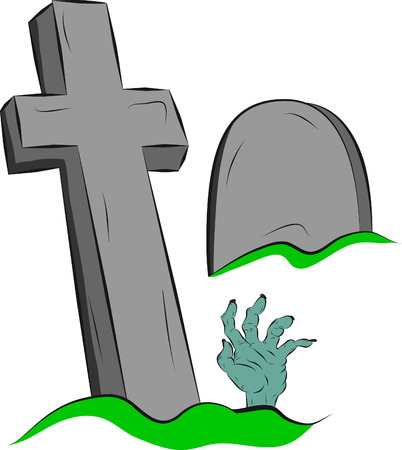 Hand reaching from the grave, the elements of design on halloween Vector
