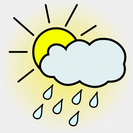 partly: Weather icon - sun with cloud floats in the sky