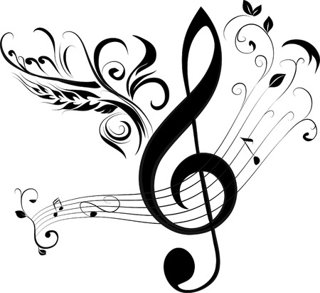 treble g clef: treble clef and note