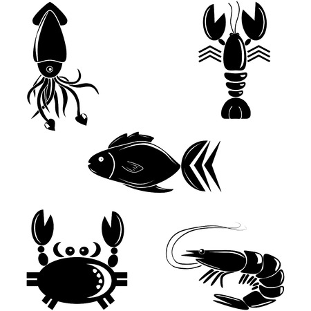 Seafood icon set Çizim