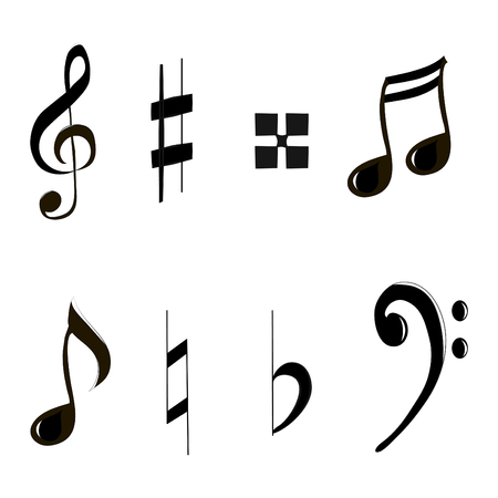 treble clef: Icons set music note