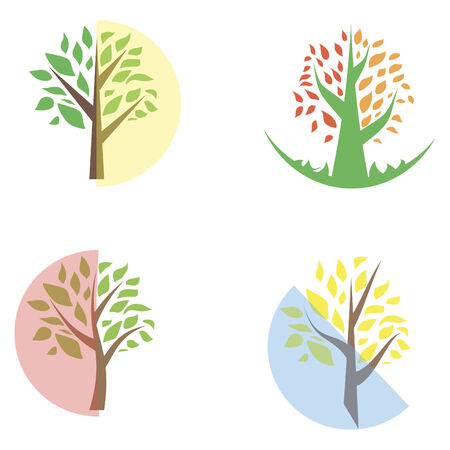 Tree icon set - cute trees cartoon illustration Vector