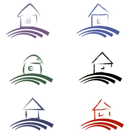 house outline: home collection stylized Illustration