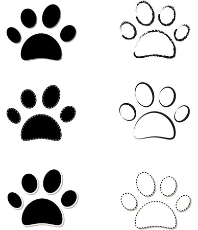 cat paw: Animal paw prints icons with shadow effect