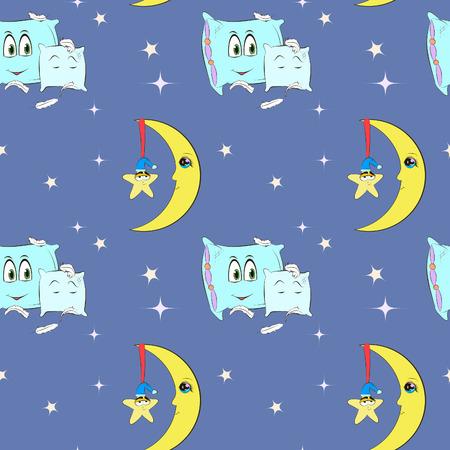lullaby: patr�n con el cielo nocturno, la luna, las almohadas y las estrellas, dibujado a mano ilustraci�n vectorial Vectores