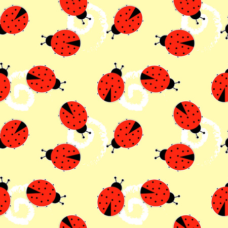 Seamless vector pattern background. Elegant texture for backgrounds with ladybugs. Vector