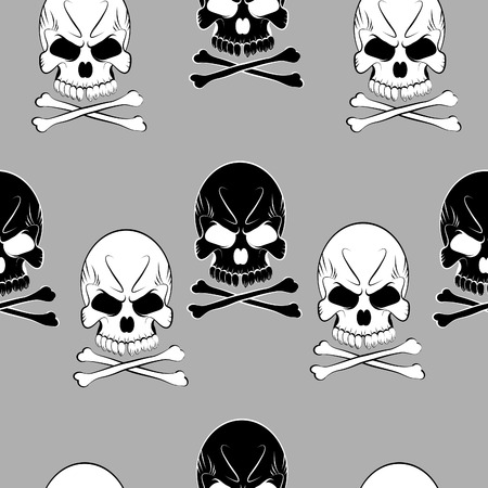 Seamless pattern with skulls background