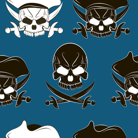 Vector Seamless pattern with skulls background