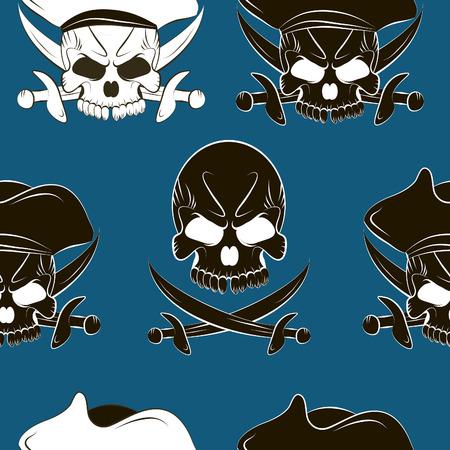 glum: Vector Seamless pattern with skulls background