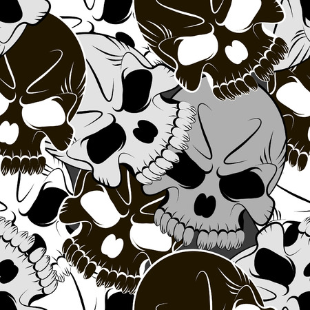 Seamless pattern with skulls gray background