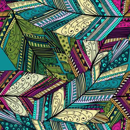 feather quill: Seamless pattern with abstract feather