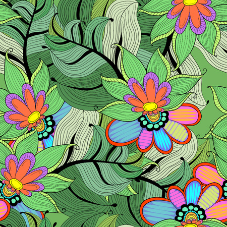 Lotus with leaves. Abstract seamless pattern with colorful flowers lily