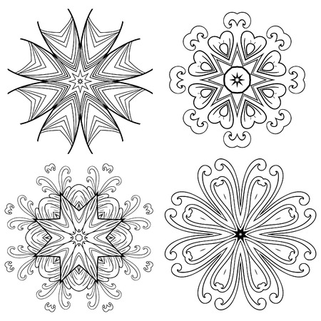 design drawing: Set Mandalas. Round Ornament Pattern. Snowflakes Illustration