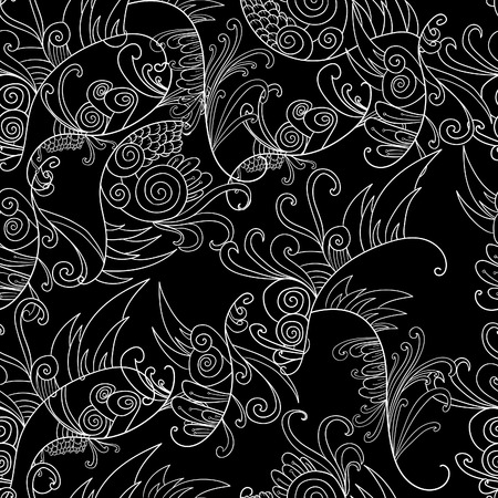 decoration elements: Black and white doodle floral elements seamless pattern background. Decoration elements for design invitation, wedding cards, valentines day, greeting cards
