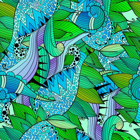 abstract waves background: colorful abstract hand-drawn pattern, waves background
