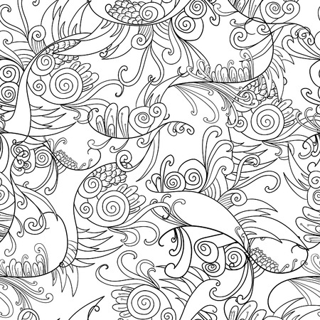 Black and white doodle floral elements seamless pattern background. Decoration elements for design invitation, wedding cards, valentines day, greeting cards