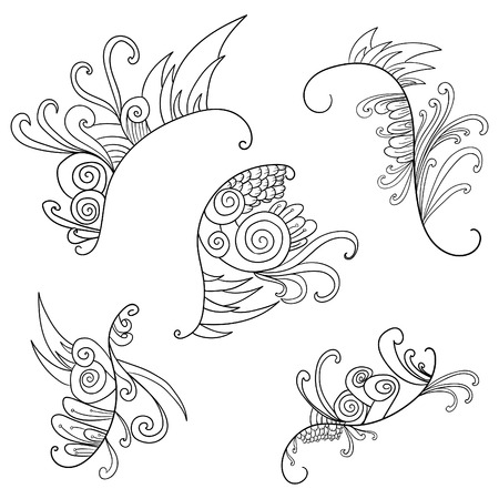 decoration elements: Black and white doodle floral elements. Decoration elements for design invitation, wedding cards, valentines day, greeting cards Illustration
