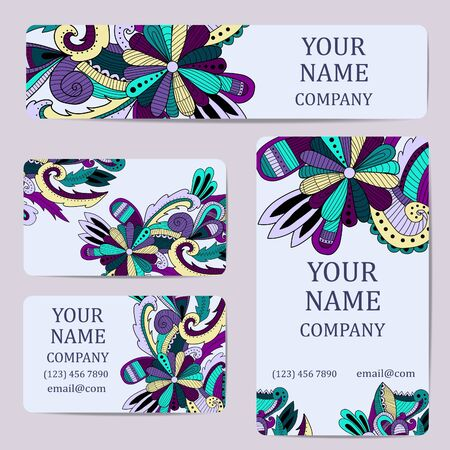 Business cards. Vintage decorative elements. Illustration