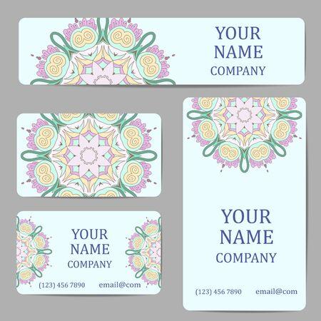 mandalas: Business cards with mandalas. Vintage decorative elements