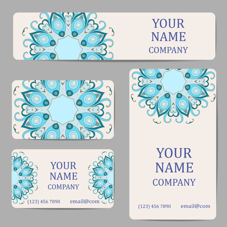 asian business: Business cards with mandalas. Card or invitation.Vintage decorative elements. Ethnic, Indian, Islamic, Asian, ottoman, Arabic mot