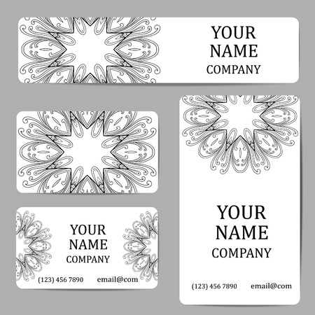 marriage invitation: Business cards with mandalas. Card or invitation.Vintage decorative elements. Ethnic, Indian, Islamic, Asian, ottoman, Arabic motif.