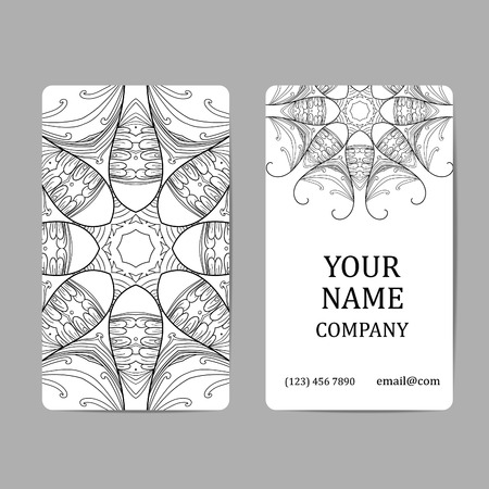 asian business: Business cards with mandalas. Card or invitation.Vintage decorative elements. Ethnic, Indian, Islamic, Asian, ottoman, Arabic motif.
