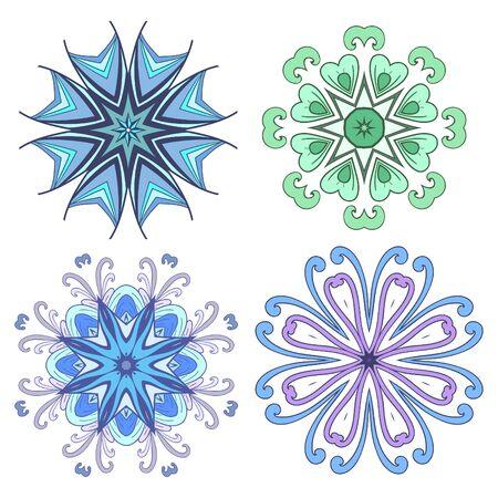 mandalas: Set Mandalas. Round Ornament Pattern Illustration