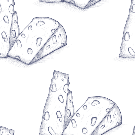 chunk: Vector vintage hand-drawn cheese in sketch style seamkess pattern background Illustration