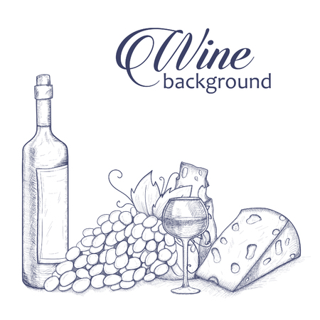 glasse: Background with bottle, glasse, cheese, grape and wine