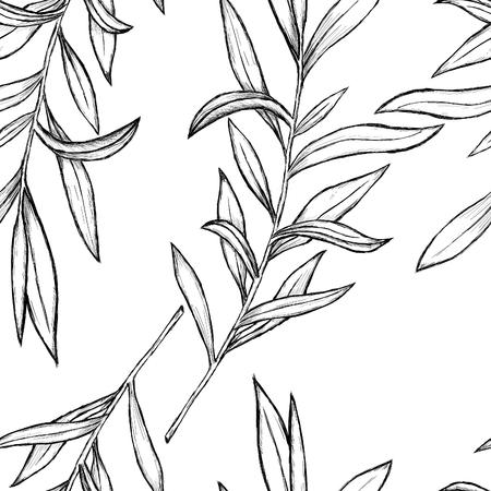 black branch: Illustrated leaves
