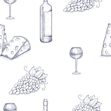 Naadloze patroon achtergrond met fles, glasse, kaas, druiven en wijn
