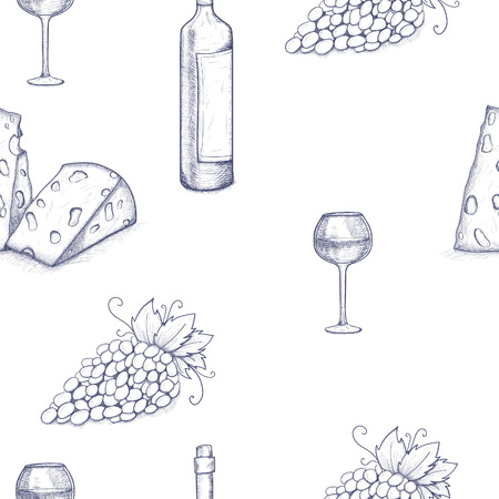 Seamless pattern background with bottle, glasse, cheese, grape and wine
