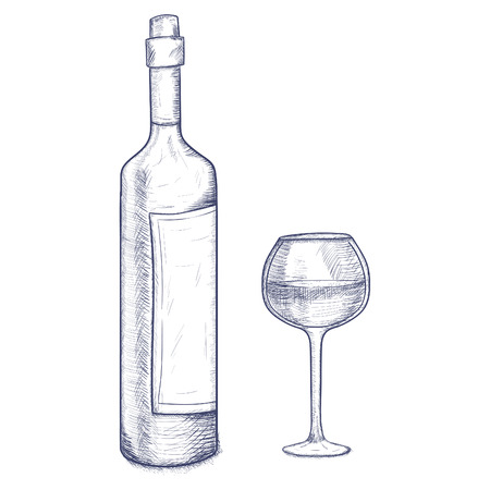 glasse: sketch bottle and glasse of wine on a white background isolated Illustration