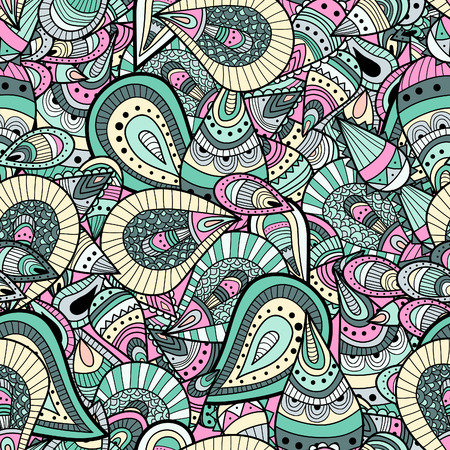 retro wallpaper: Seamless pattern background with abstract ornaments. Hand draw illustration