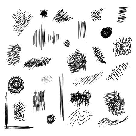 mess: Set of ink lines doodle. Scribbles of pen, hatching, scratch