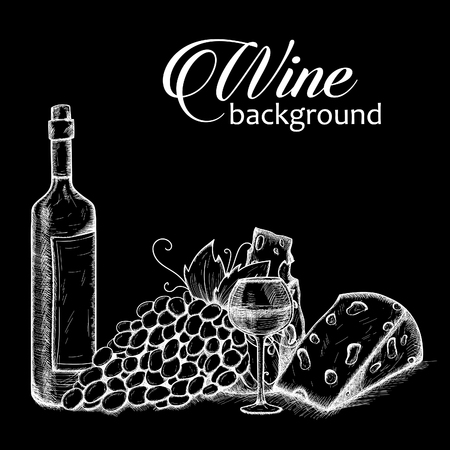 glasse: Wine sketch background. Background with bottle, glasse, cheese, grape and wine.Vector hand drawn illustration. Vintage design. Sketch style.