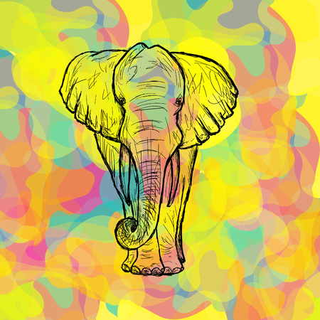 Greeting Beautiful card with Indian Elephant. Frame of animal made in vector. Perfect cards, or for any other kind of design, birthday and other holiday. hand drawn map with Elephant. Holi background