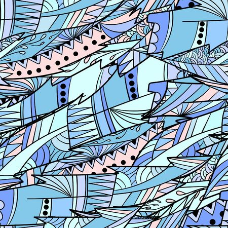 Seamless pattern background with abstract colorful feather.