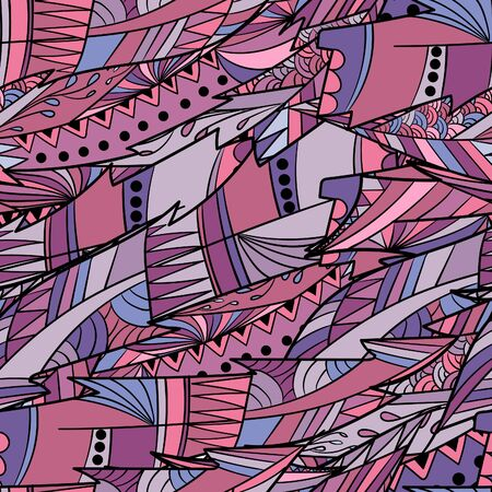Seamless pattern background with abstract colorful feathers and leaves in ornamental design.