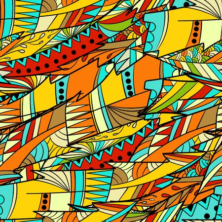 Seamless pattern background  with abstract colorful feather. Çizim