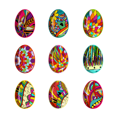 Easter eggs set with floral patterns Çizim